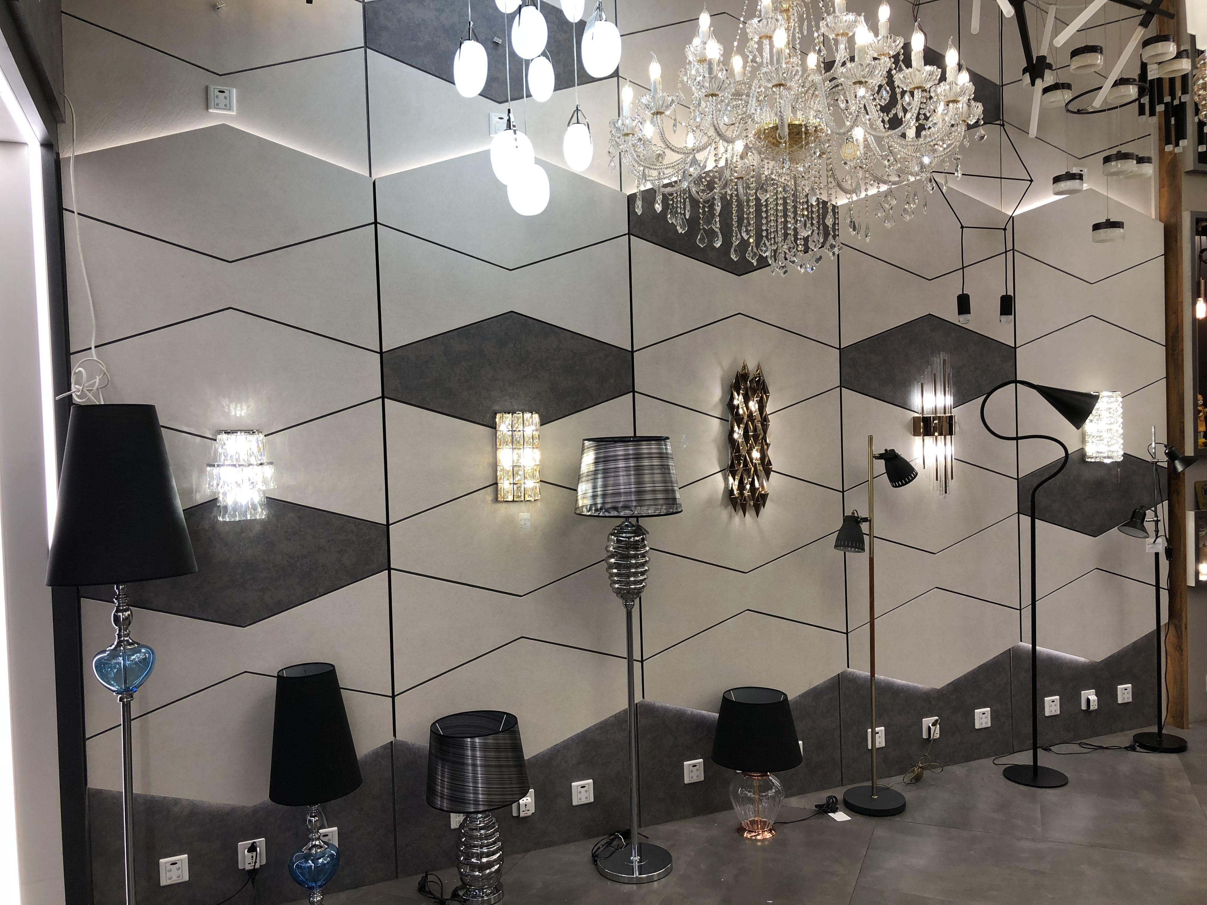 Lightdisplay Pattern Wallpanel Walllights Showroom Contemporary Stonelook Laminatefinish Lighting Showroom Wall Paneling Light Display