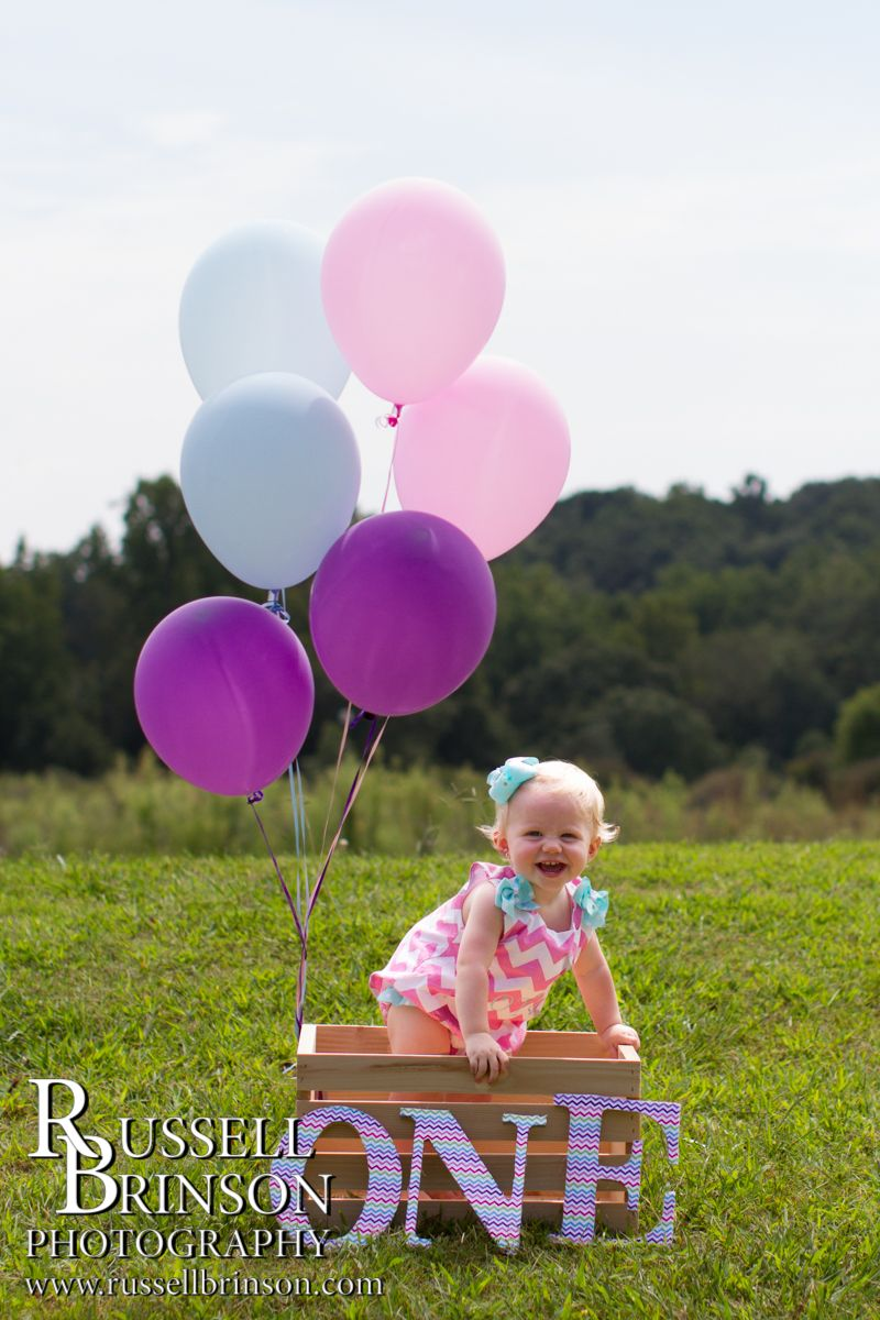 Newborn, baby, pictures, 1 year old, balloons, crate