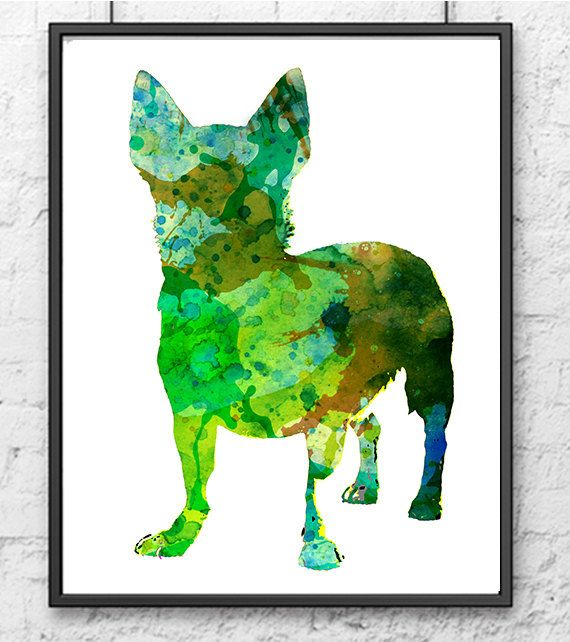 Green French bulldog watercolor art print home por Thenobleowl