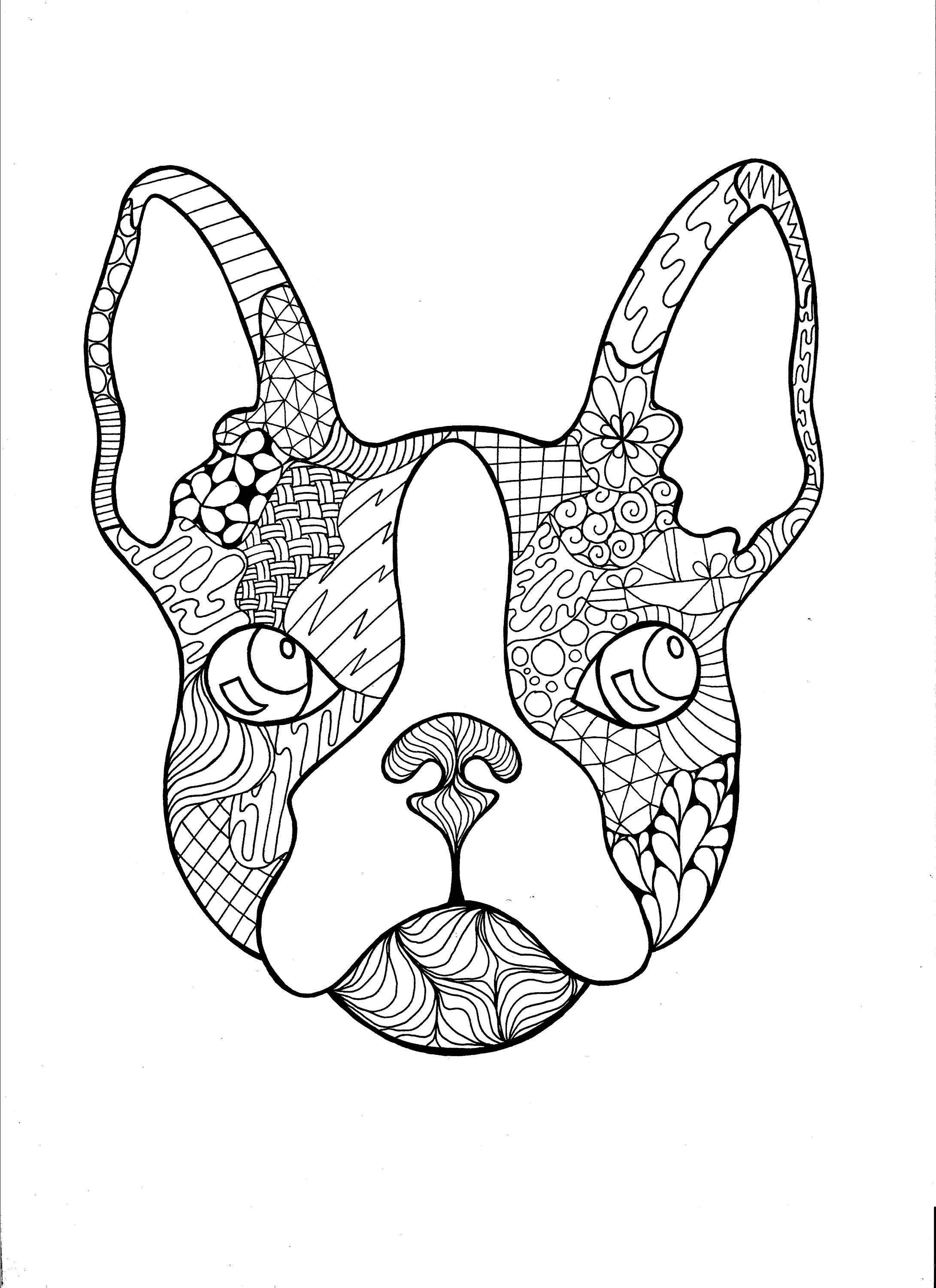 French bulldog Zentangle PDF Coloring Page Coloring