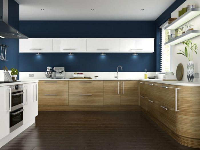 Uberlegen Wandfarbe Küche Wände Streichen Ideen Küche Einrichten Blaue Wandfarbe  Schöne Küchenschränke Holztextur