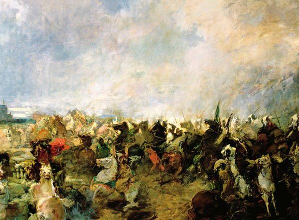 711 dC - Batalla de Guadalete -El general Tarik cruzó la estrecha franja de mar que separa África de Europa a través de Gibraltar –de ahí el nombre del Estrecho– e inició la invasión musulmana de la Península. Rodrigo intentó frenar el avance musulmán en la batalla de Guadalete, pero perdió la vida en el intento.