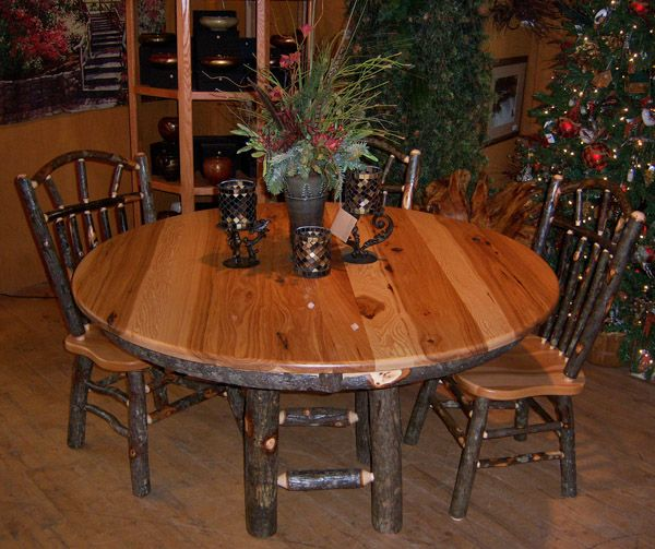 Hickory Dining Table Log Furniture Rustic Cabin Dinette Endearing Hickory Dining Room Sets Design Decoration