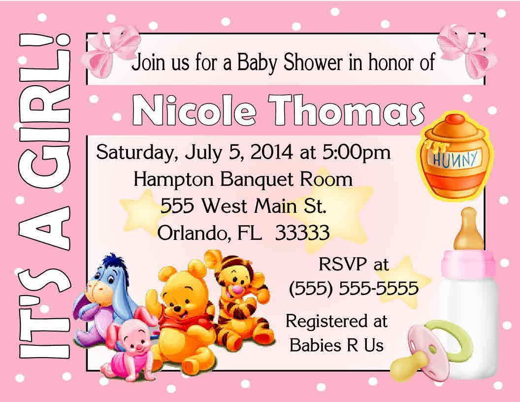 20 Winnie The Pooh Baby Shower Invitations - It\'S A Girl Design ...