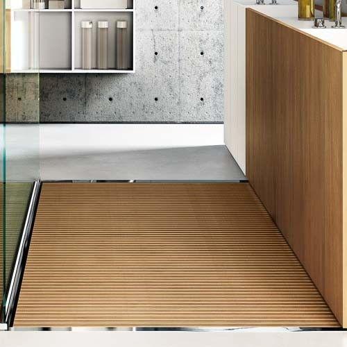 Lovely Steel Corner Shower Base With Wooden Deck Slats