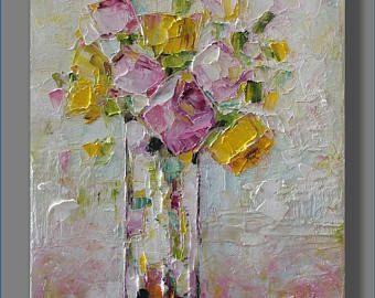 Pintura al óleo naturaleza muerta pintura al óleo moderna pintura pintura contemporánea espátula pintura aceite arte Bodegón regalo de día de las madres
