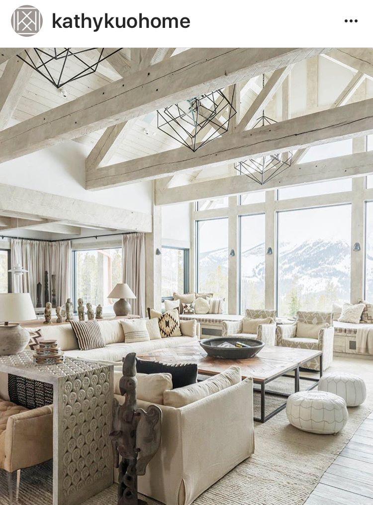 Exposed Beams Luxury Interior Transitional Design Modern Rustic