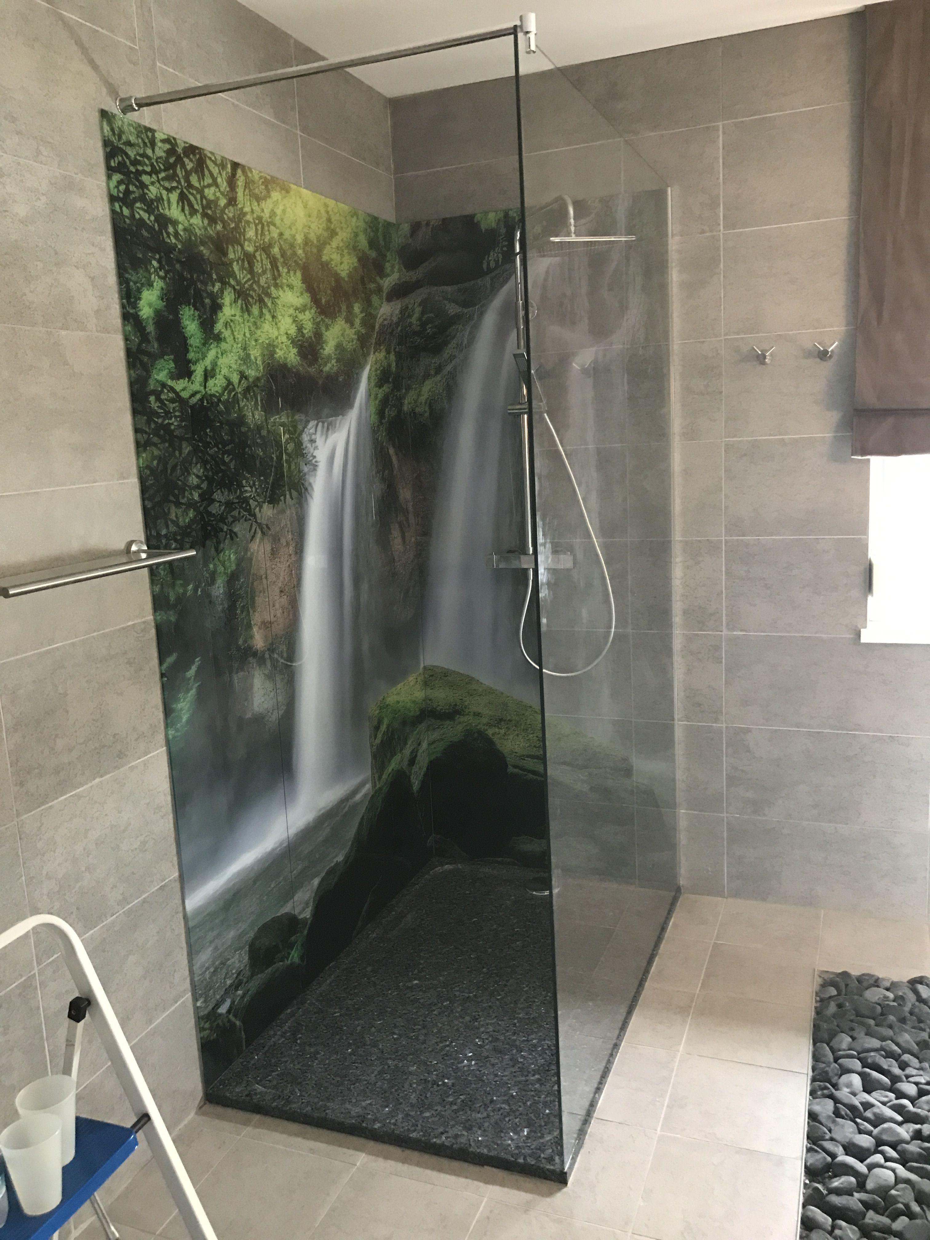 Ruckwand Der Dusche Aus Glas Bedruckt Wasserfall Glaser