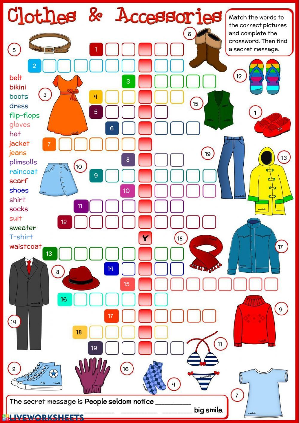 Clothes online worksheet. You can do the exercises online
