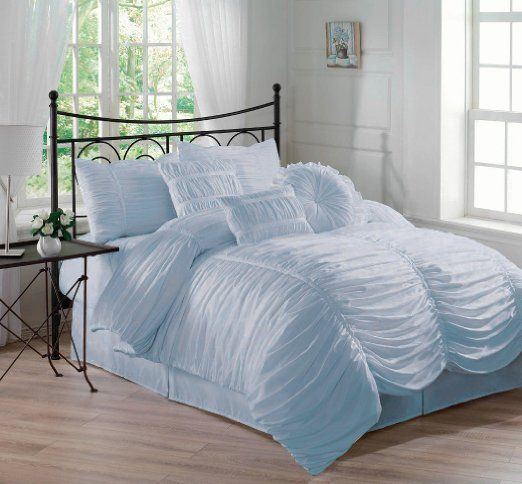 Chezmoi Collection 7 Piece Chic Ruched Comforter Set With Throw Pillows Queen Sky Blue Comforter Sets Ruched Bedding White Duvet Covers