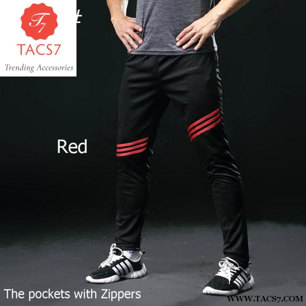 ac1df64ef0a2 Gym Running Pants Men Athletic Football pants Soccer sports Training Pants  Fitness Workout Jogging pants Cycling