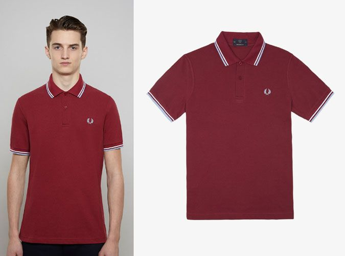e524bcad Fred Perry Laurel Collection Twin Tipped Polo Shirt- MAROON /WHITE / ICE  (Made In England!)