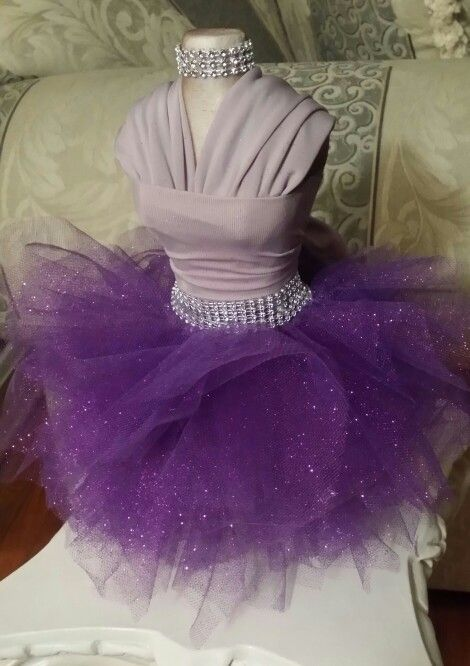 Elegantly Purple tutu dress  (small styrofoam dress form)