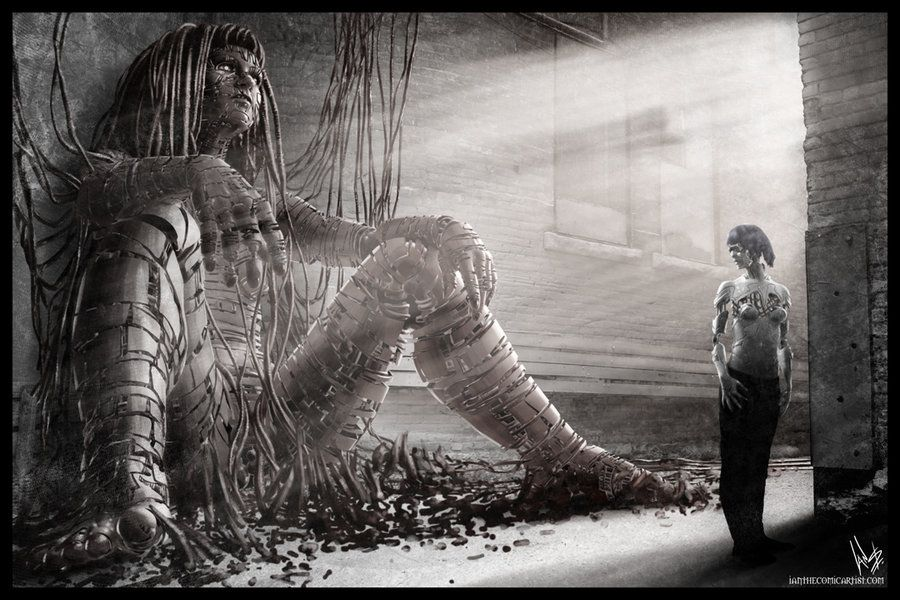 I fell in love with the image and though how awesome would it be that as well as the spiritual natives that are in touch with the giant animal spirits etc that fight beside them. The Techlanders or Cyber-naughts fashion giant beings of their own! How awesome!!