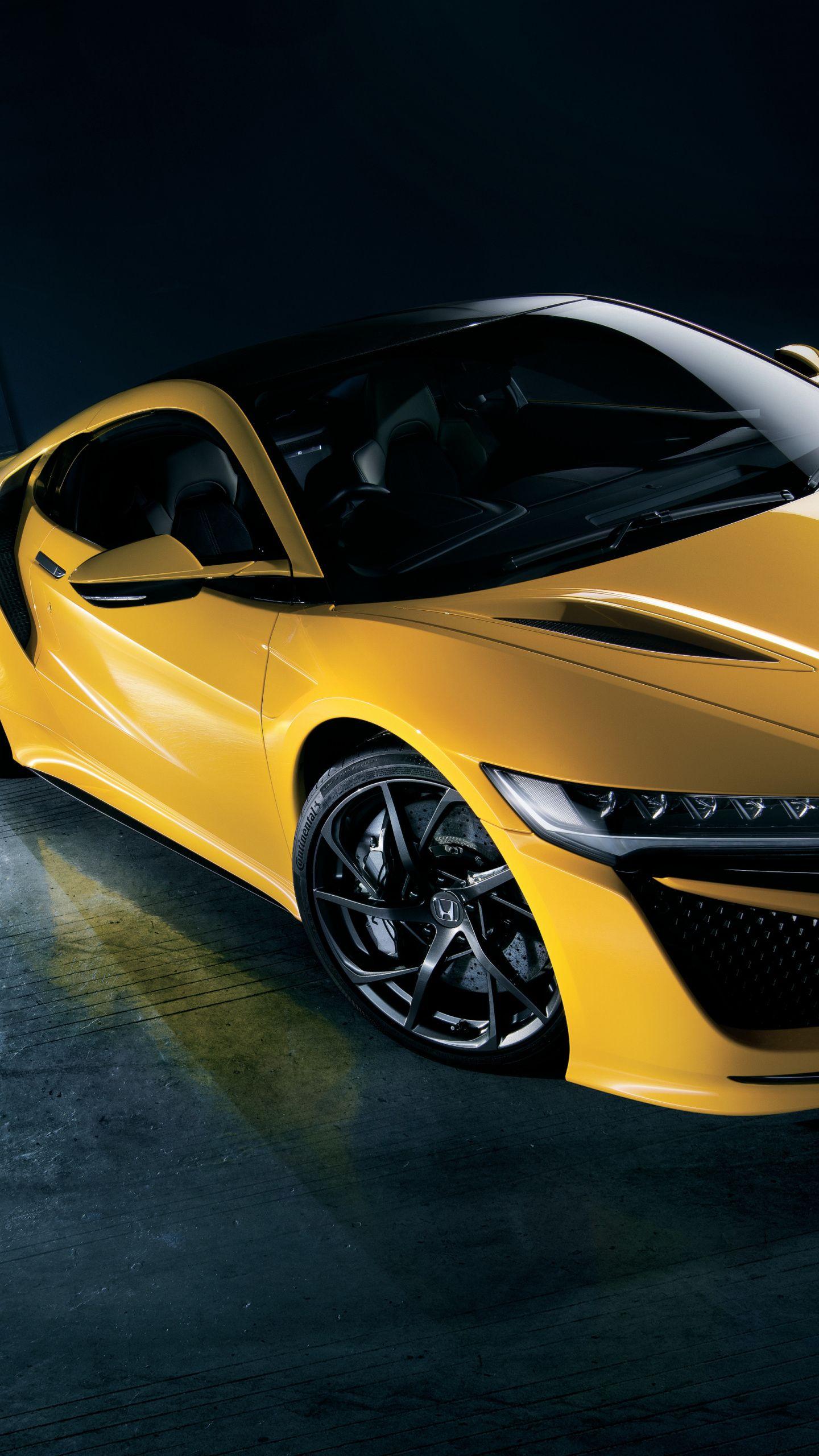 1440x2560 Honda Nsx Yellow Car 2020 Wallpaper In 2020 Yellow Car Nsx Lux Cars