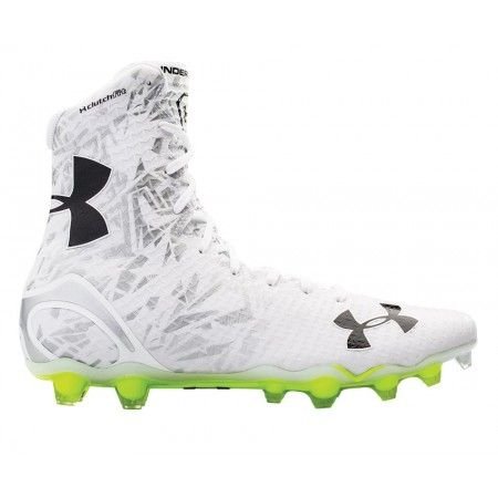 #LacrosseUnlimited Under Armour Highlight Lacrosse Cleats in White/Silver.  #ua #lacrosse
