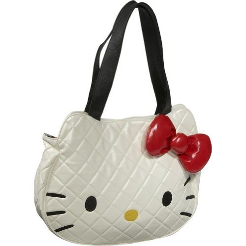 Hello Kitty Bag- White Quilted Face Tote Bag  c38f3b4c44c5b