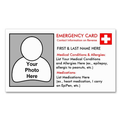 Personalised Medical Information Cards Medical and Cards - contact information template