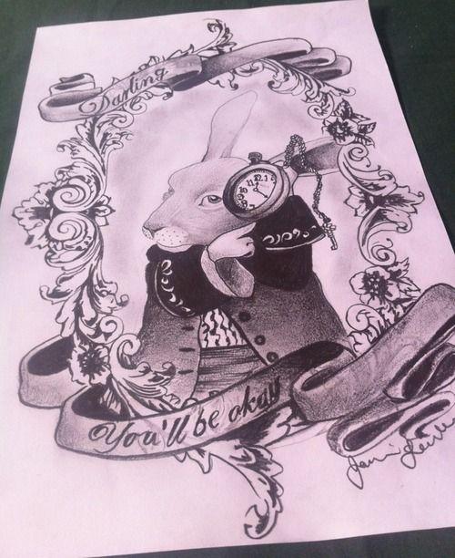 alice in wonderland white rabbit pocket watch tattoo ...