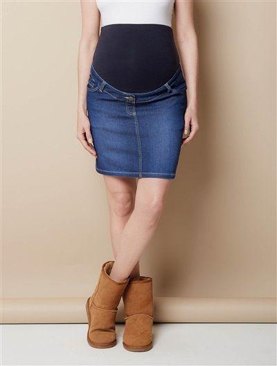 aae877a2e2 25€ Short Maternity Skirt in Denim Effect Fleece BLUE DARK WASCHED - vertbaudet  enfant