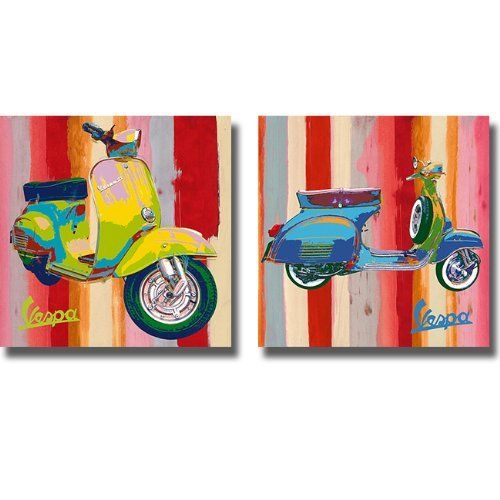 Pop Vespa By Valerio Salvini 2 Pc Premium Quality Scooter Poster Set By Artistic Home Gallery Http Www Ama Canvas Wall Art Set Stretched Canvas Wall Art Art