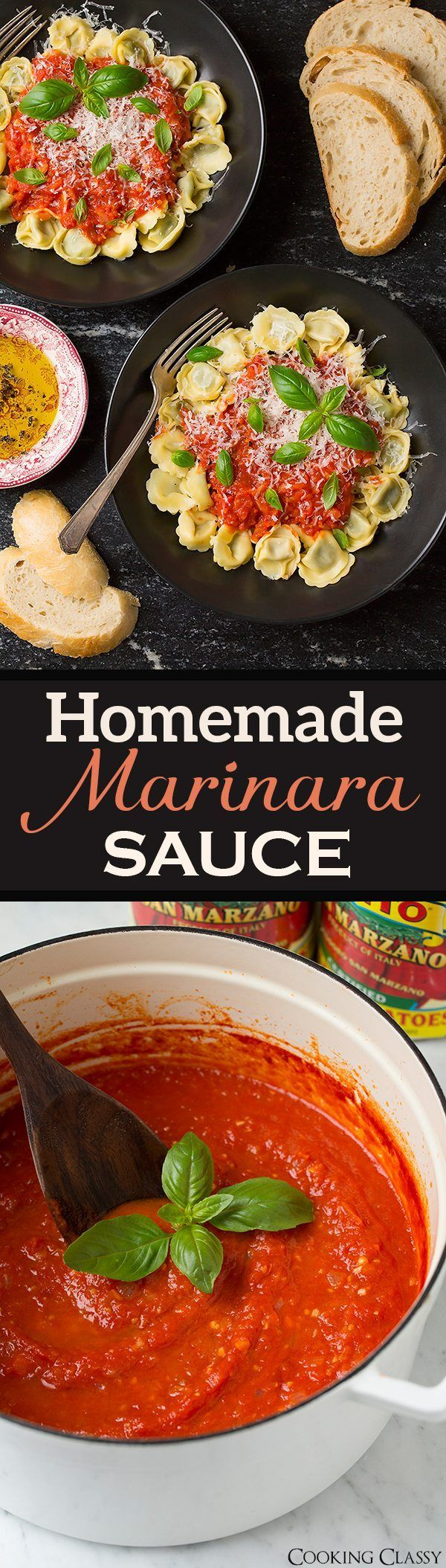 best homemade marinara sauce! It's so easy to make and it's so much better than the bottled stuff! And you'll love the hint of butter. Serve over spaghetti or tortellini for a simple, tasty dinner.