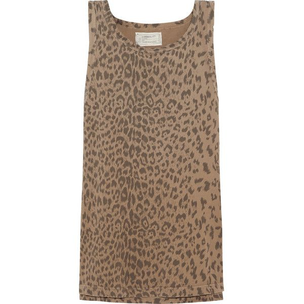 Current/Elliott The Muscle leopard-print cotton-jersey tank (210 BRL) ❤ liked on Polyvore featuring tops, tan, brown tops, loose tank, loose fitting tank tops, leopard print tank and tan tank top