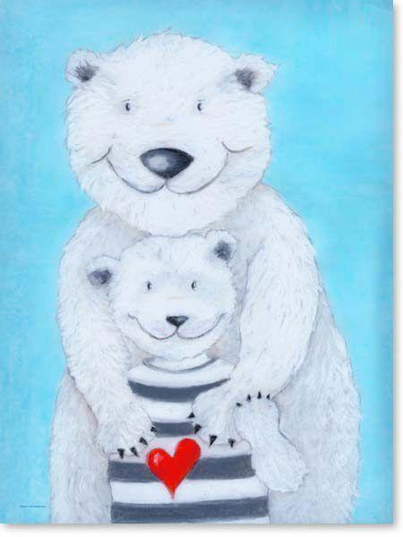 Pastellbild Papa Eisbär - Leinwandbild Kinderzimmer | Bilder ...