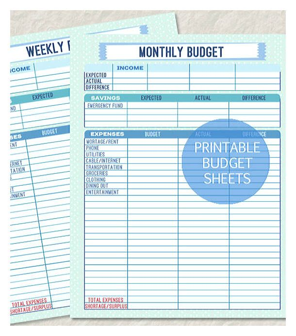 printable monthly and weekly budget sheet weekly budget template