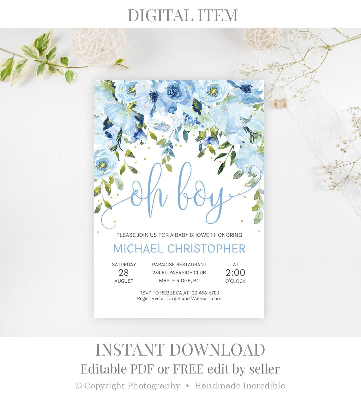 photograph relating to Baby Shower Printable Invitations referred to as Blue Little one Shower Invitation Printable, Editable Oh Boy Youngster