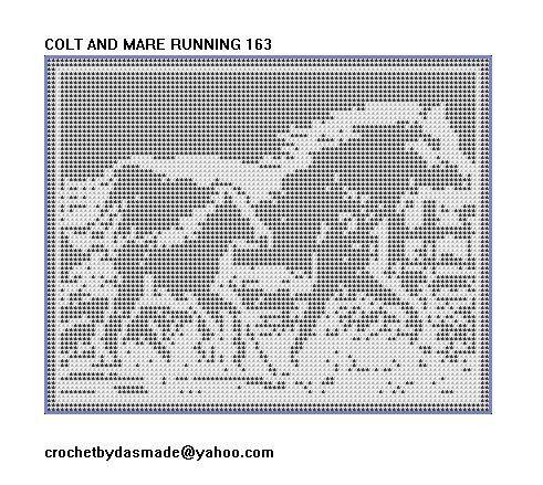 163 Colt And Mare Running Filet Crochet Pattern Pinterest Filet