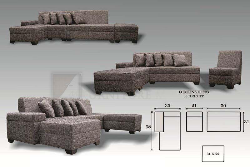 Us Fabric Uratex Foam L Shaped Sofa Sofa Furniture Furniture