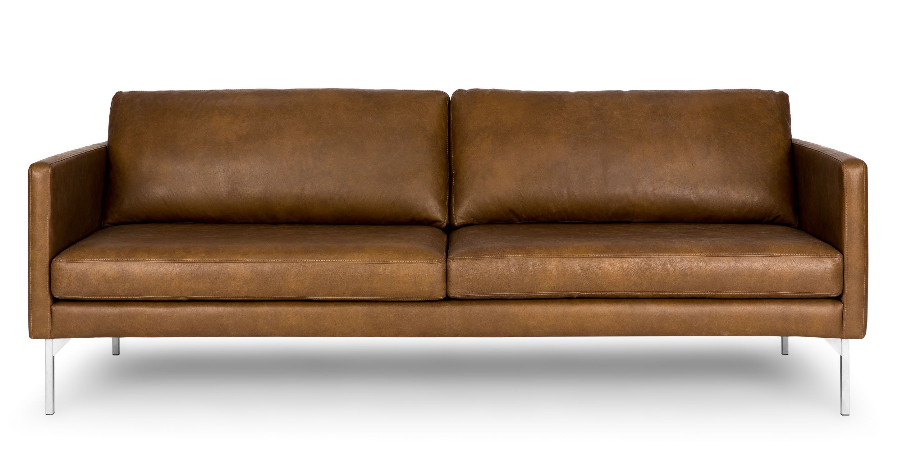 Echo Oxford Tan Sofa Style Type Contemporary Leather 3 Seat General Dimensions 32 H X 84 W 35 D Weight Lbs 103 Height 16 5 Depth