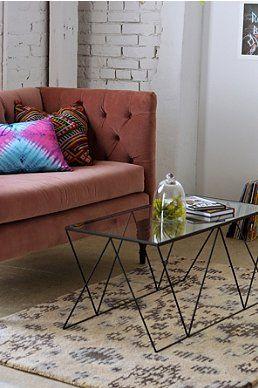 altrosa vintage sofa und metall vintage couchtisch - | - vintage
