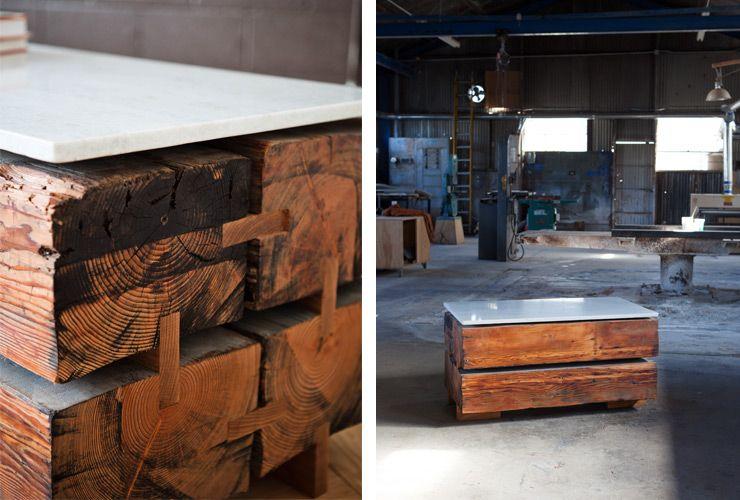 Lark Marble & Beam Coffee Table by Monroe Workshop