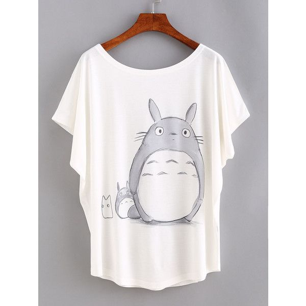Cartoon Print Bat Sleeve T-shirt (9.11 CAD) ❤ liked on Polyvore featuring tops, t-shirts, white, round neck t shirt, short sleeve tee, stretch t shirt, white t shirt and cartoon character t shirts