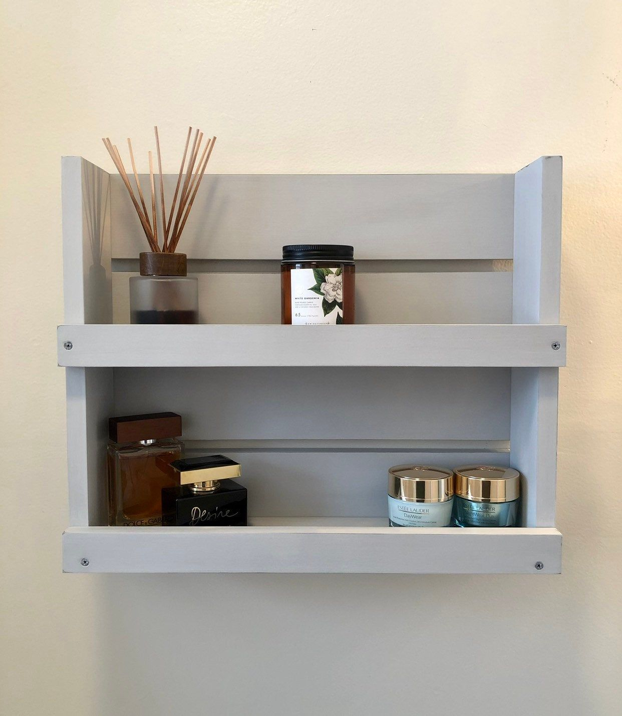 Bathroom Gray Lightly Distressed Shelf Shelves Wall Mounted Wood