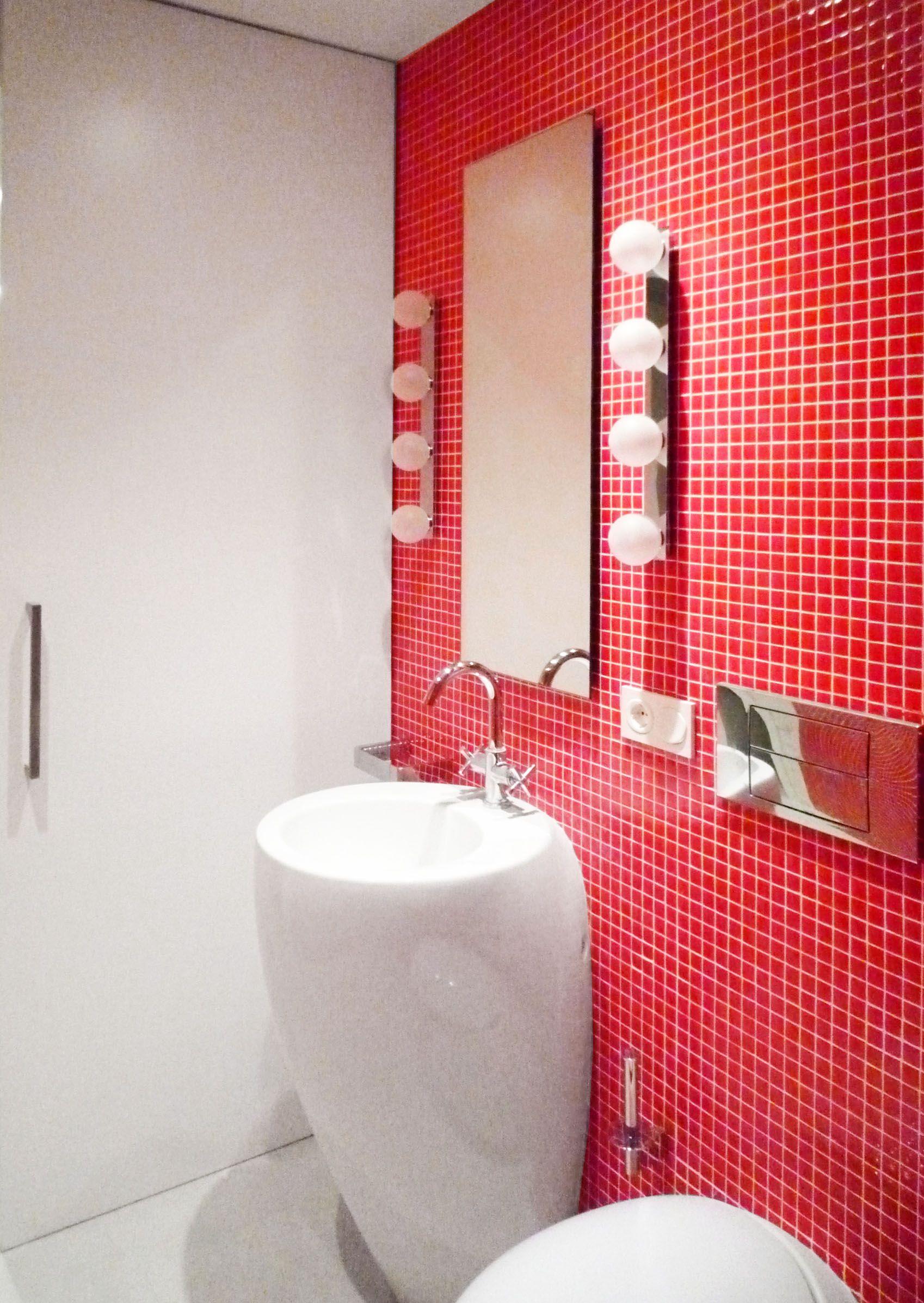 Baño Rojo Loft Barcelona 08023 Arquitectos Barcelona