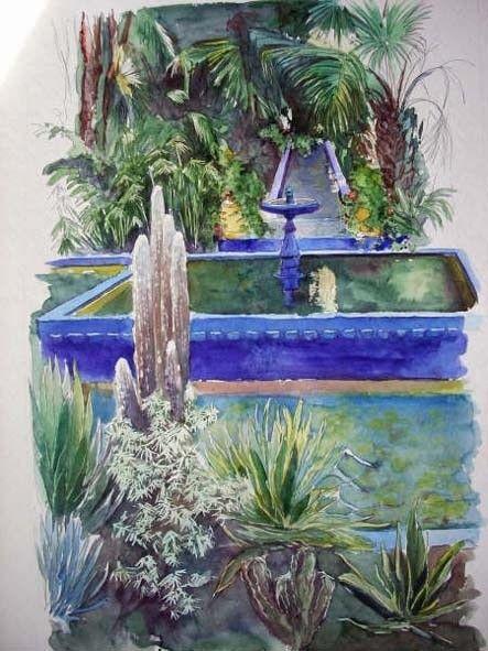 Jardin Anil Majorelle Marrakech Peinture 55x75 Cm C 2008 Par