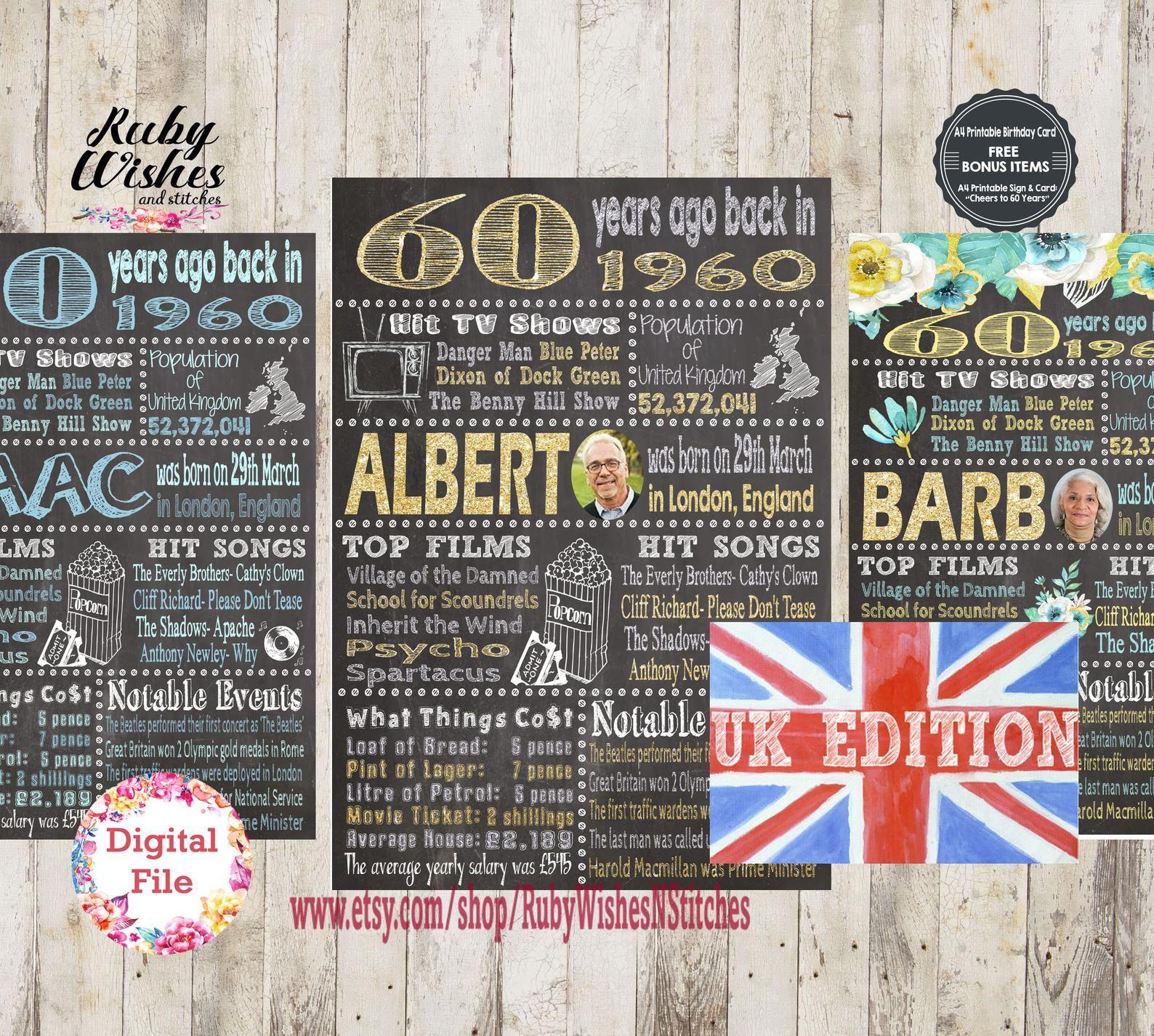 Personalised 60th Birthday 1960 Chalkboard Printable British Etsy 60th Birthday Poster 60th Birthday Birthday Card Printable