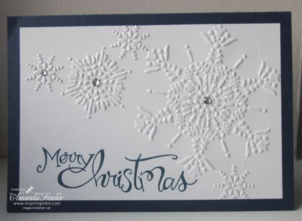 Amanda Stampin Up! Christmas card using Northern Flurries and sassy salutations I hope you can see the close up shimmer on this next picture, I have used a piece of sponge and the illuminate ink pad to rub over the snowflakes, it makes them 'pop' in real life!