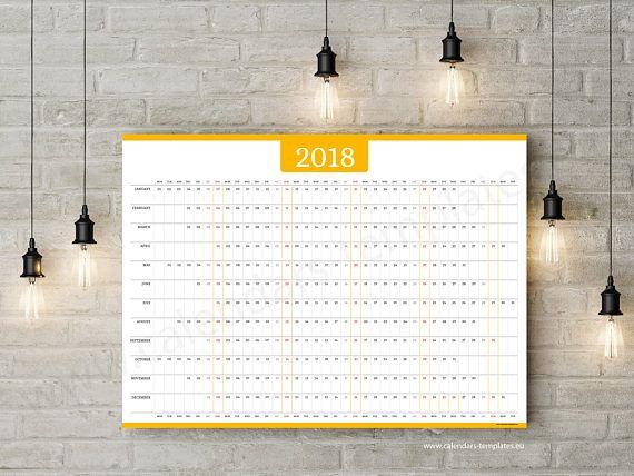 2018 Wall Horizonta Yearly Printable Planner Agenda Calendar - agenda calendar template