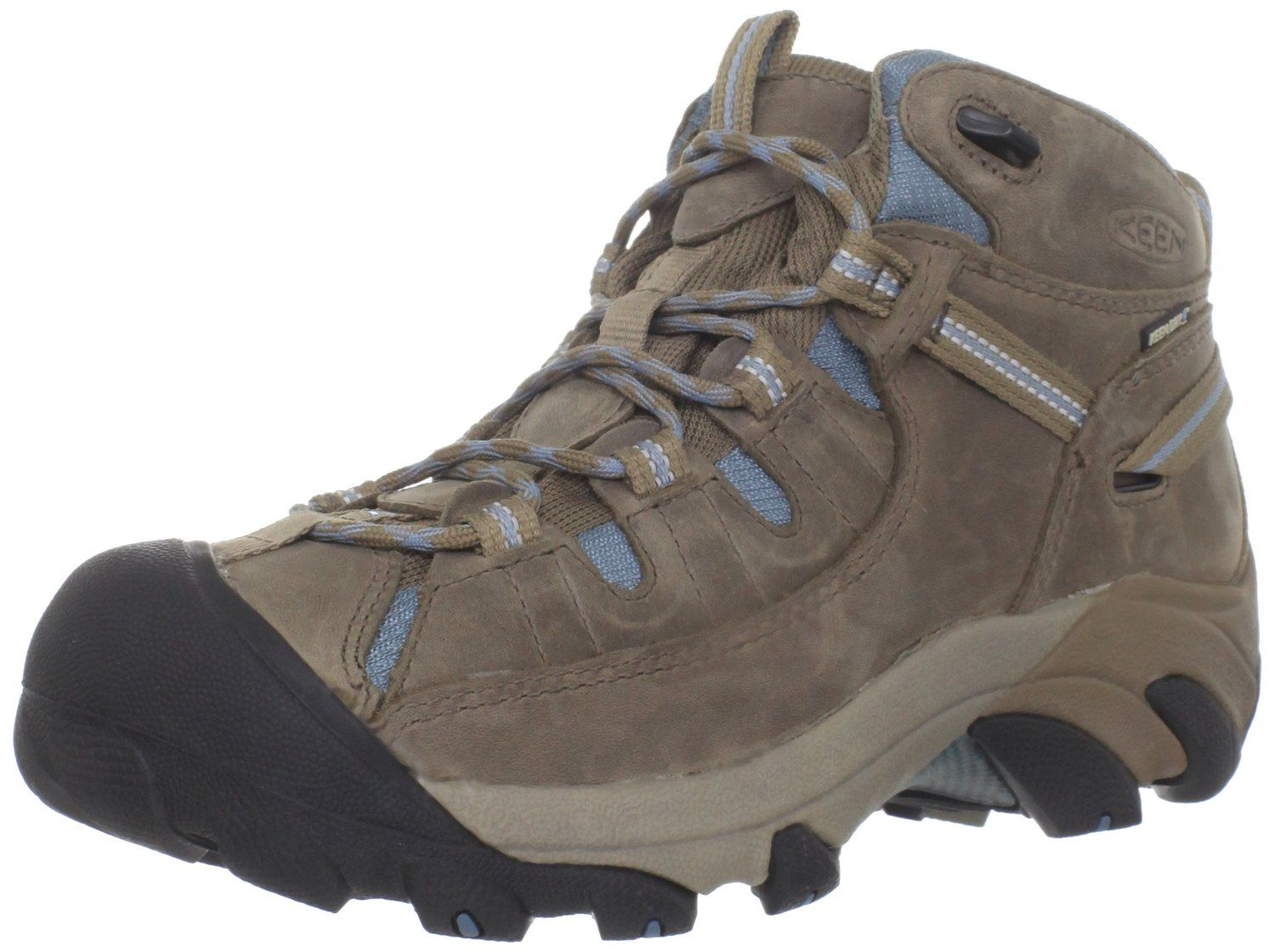 KEEN Womens Targhee II Mid Waterproof Hiking Boot,Gargoyle//Caribbean Sea,6 M US