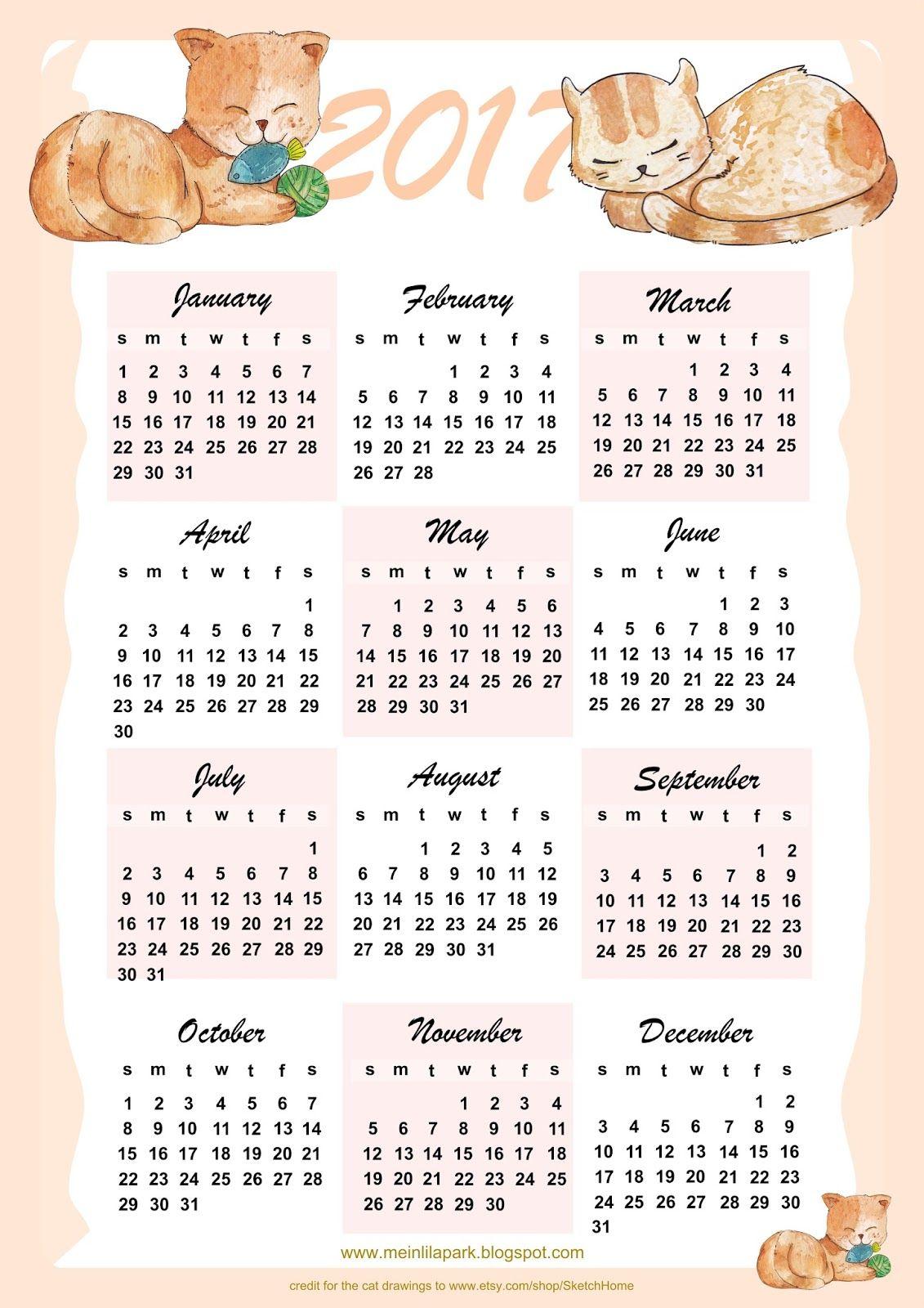 Free Printable  Cat Calendar  Free Printables  And More