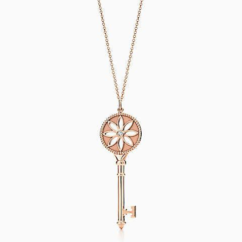 5804303b3 Tiffany Keys daisy key pendant in 18k rose gold with a diamond on a chain.