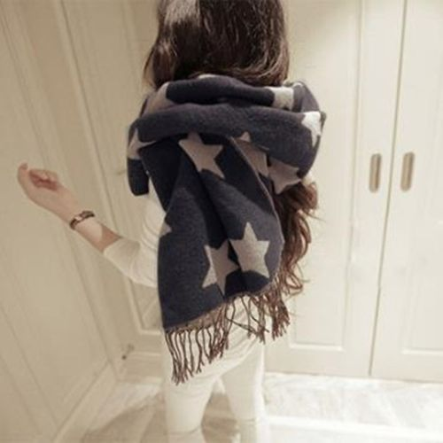 13 62 2 Pack Elegant Black And White Color Double Sided Cashmere Scarves Large Shawl Scarf Five Pointed Star Scarf Women Winter Womens Scarves Winter Scarf