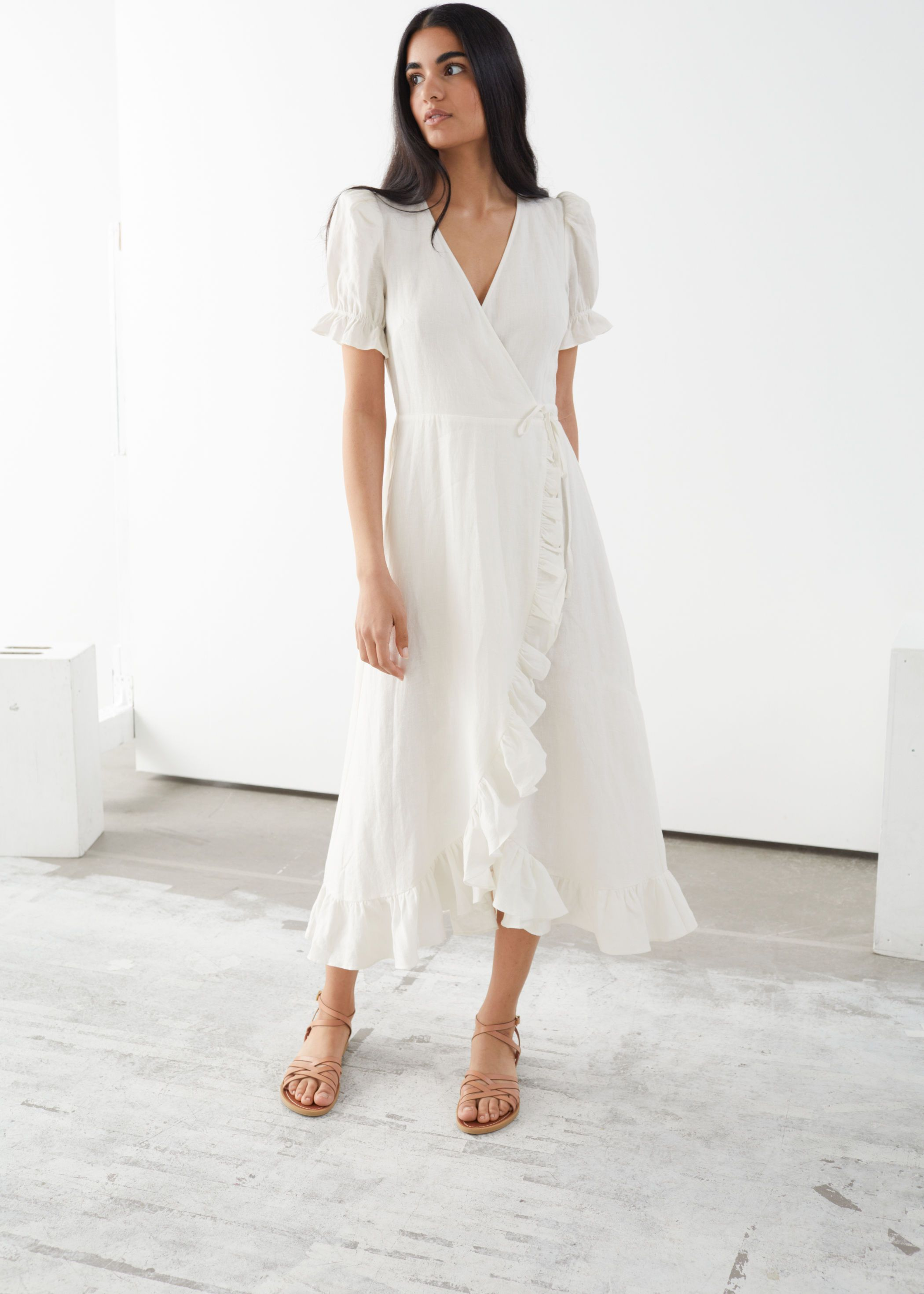 Endource Frilled Wrap Dress By Other Stories Made From Linen Linen Is Made From The Fibres Of The Flax Plant W Wrap Around Dress Wrap Dress Midi Dresses [ 2940 x 2100 Pixel ]