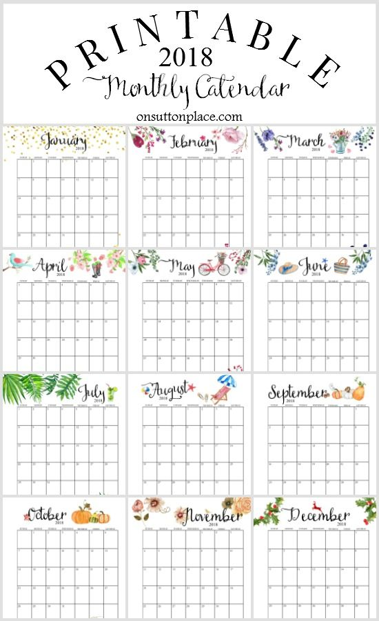 2018 Free Printable Monthly Calendar Includes 12 months, weekly