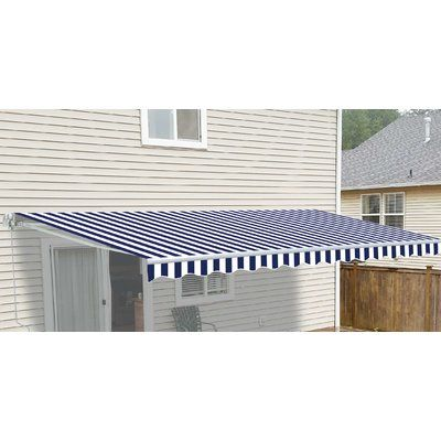 Aleko 12 Ft W X 10 Ft D Fabric Retractable Standard Patio Awning Colour Blue White In 2020 Patio Carport Patio Window Awnings