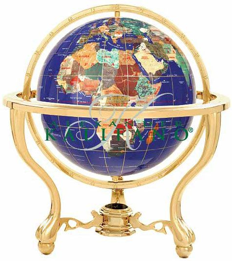 Gemstone Globe Lapis Ocean Tabletop With Tripod Stand